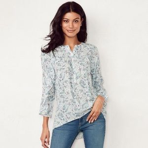New! LC Lauren Conrad Printed Ruffle Sleeve Blouse